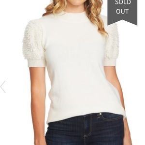 CeCe by Cynthia Steffe Poodle Sleeve Mock Neck Top